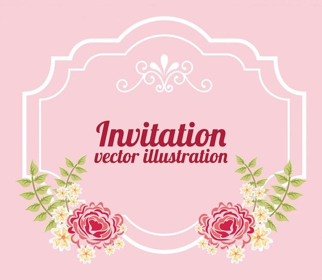 Flores com moldura sobre o modelo de convite rosa Vetor grátis