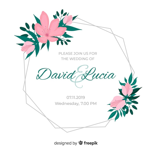 Flores cor de rosa para moldura de convite de casamento Vetor grátis