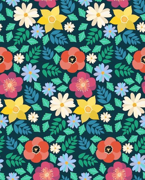 Flores da primavera sem costura padrão Vetor Premium