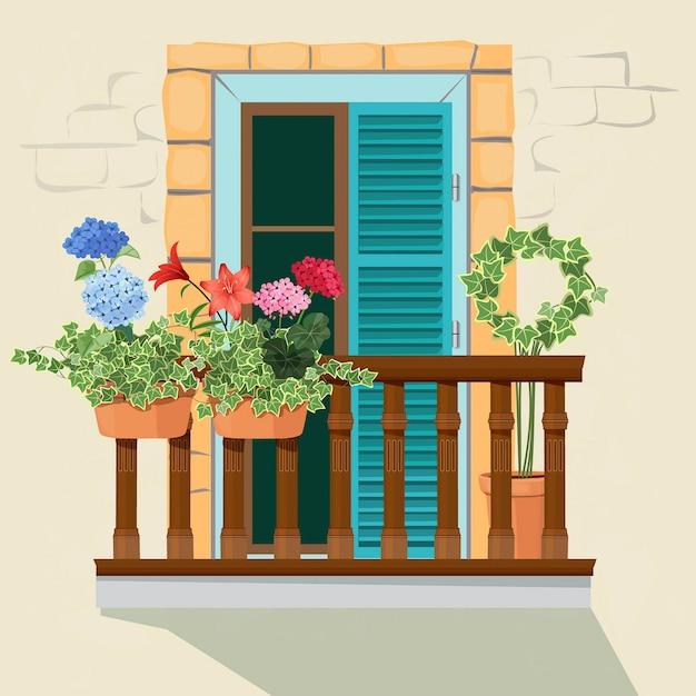Flores Da Varanda Janela Da Fachada Da Casa E Vasos De