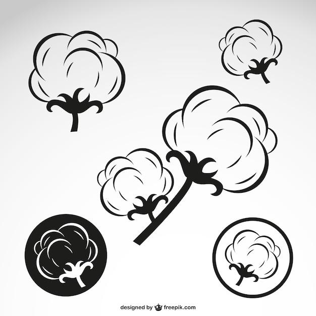 Flores de algodão esboço Vetor grátis