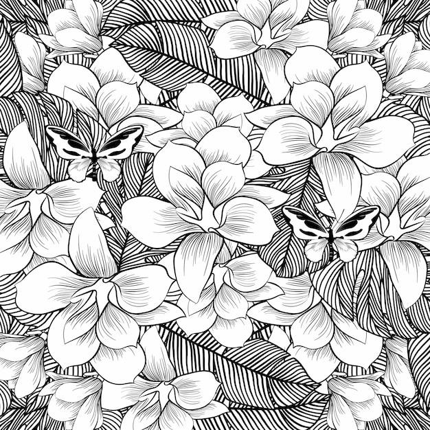 Flores de desenho com linha-arte em fundo branco Vetor Premium