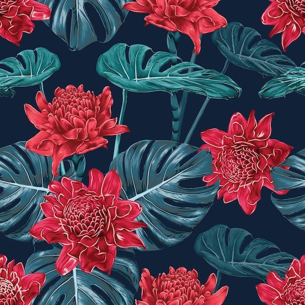 Flores de gengibre de tocha de padrão sem emenda vermelho e monstera folha resumo. ilustração em vetor aquarela mão seca desenho stlye. Vetor Premium