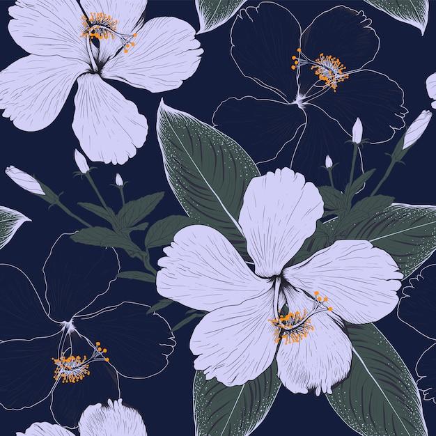 Flores de hibisco padrão sem emenda sobre fundo azul escuro. ilustração desenho tecido design. Vetor Premium