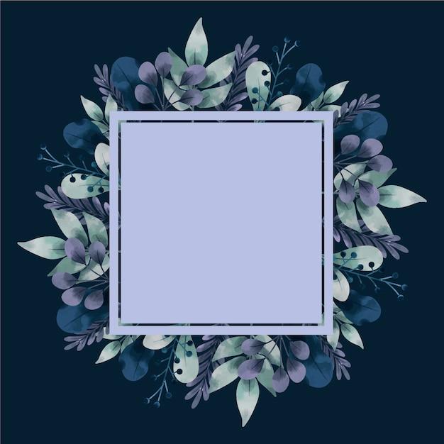 Flores de inverno com banner vazio mão desenhada Vetor grátis
