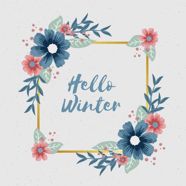 Flores de inverno com banner vazio Vetor grátis