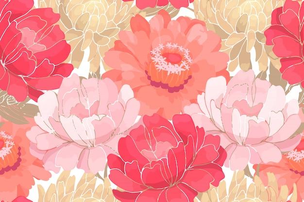 Flores de jardim-de-rosa e brancas com folhas bege isoladas no branco Vetor Premium