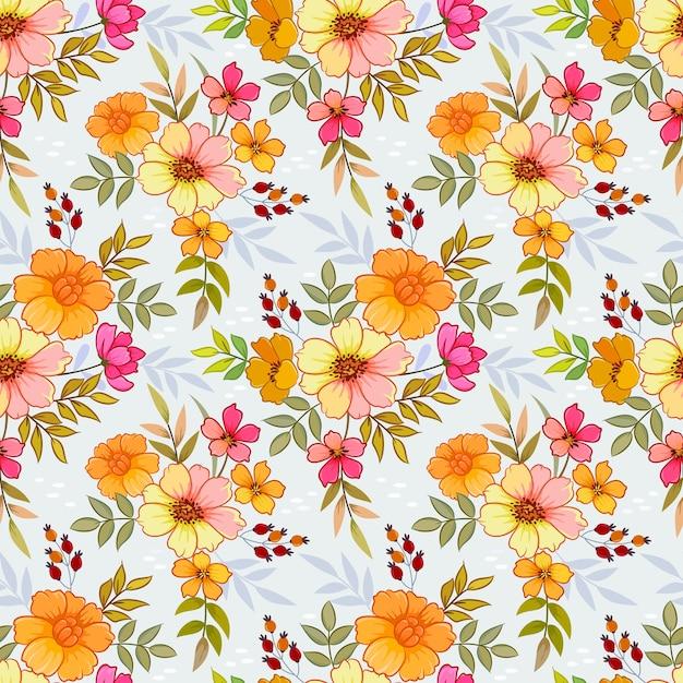 Flores de laranja padrão sem emenda Vetor Premium
