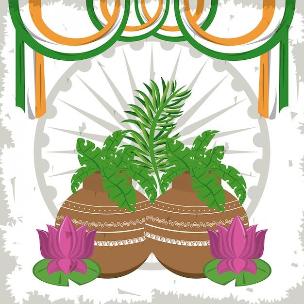 Flores de lótus da índia em vasos com bandeiras Vetor grátis