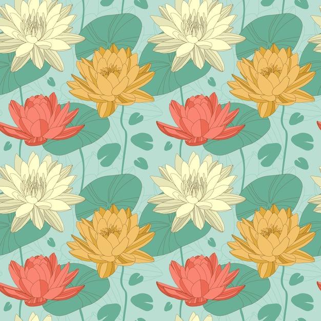 Flores de lótus no padrão sem emenda Vetor Premium