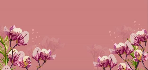 Flores de magnólia no fundo rosa Vetor Premium