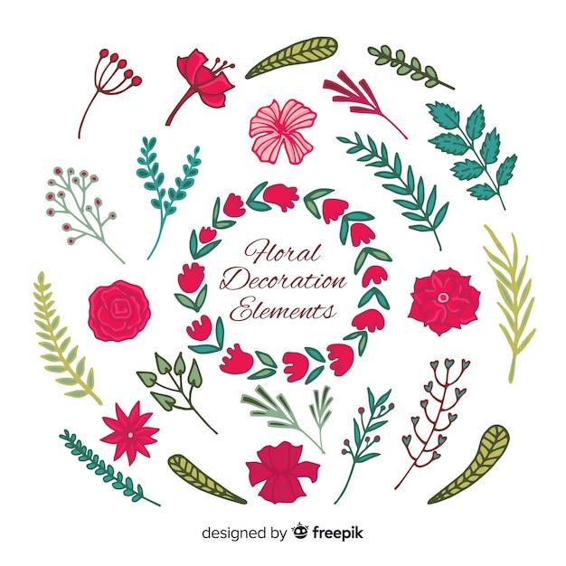 Flores de mão desenhada e conjunto de folhas Vetor grátis