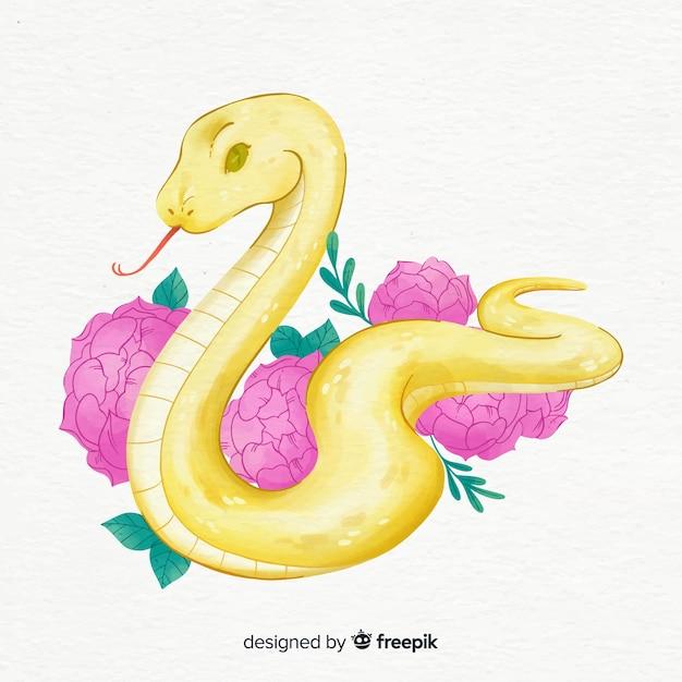 Flores de mão desenhada e ilustração de cobra Vetor grátis