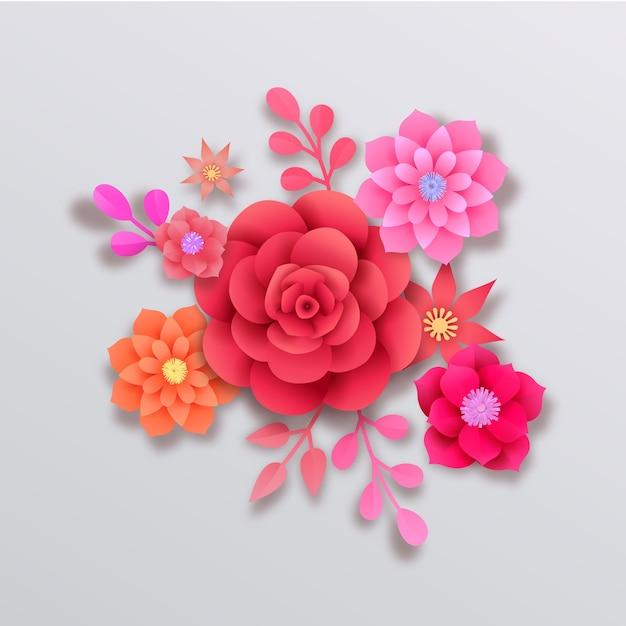 Flores de papel bonito estilo Vetor grátis