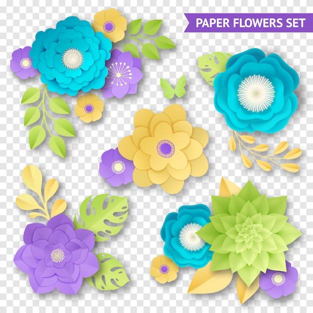 Flores de papel composições transparente set Vetor grátis