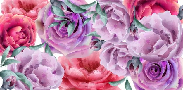 Flores de primavera verão banner aquarela Vetor Premium