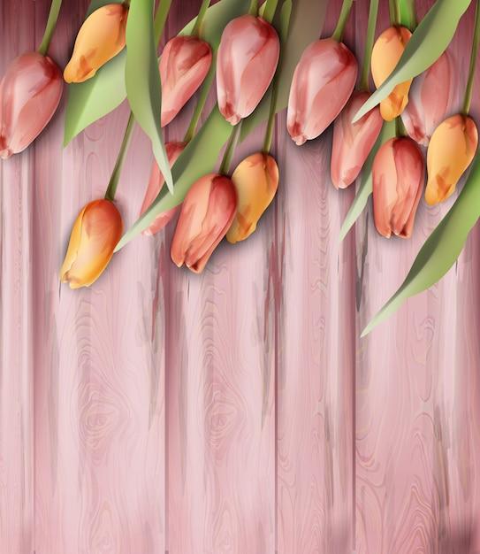 Flores de tulipas na aquarela de textura de madeira Vetor Premium