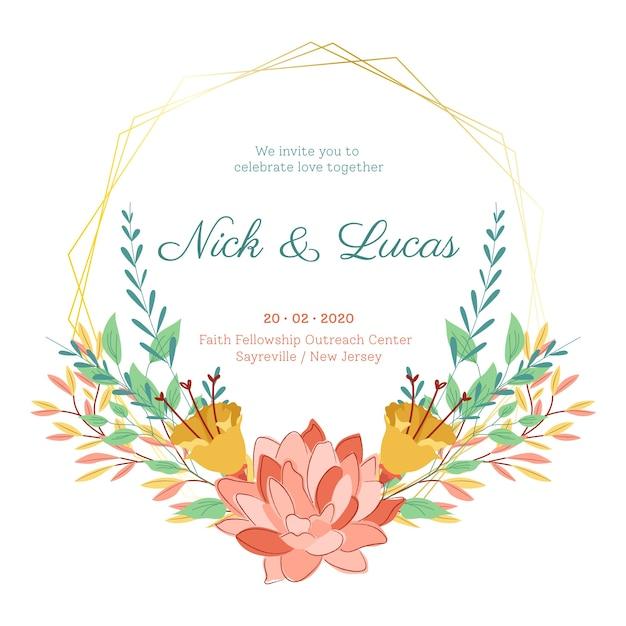 Flores de verão em salvar o quadro de casamento de data Vetor Premium