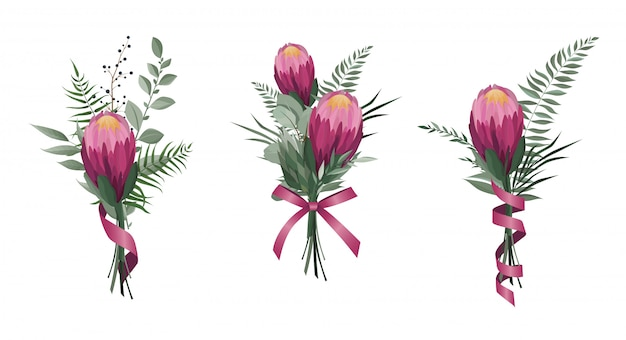 Flores de vetor definido. Vetor Premium