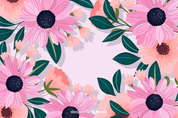Flores decorativas fundo design plano Vetor grátis