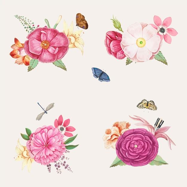 Flores desabrochando rosa Vetor grátis