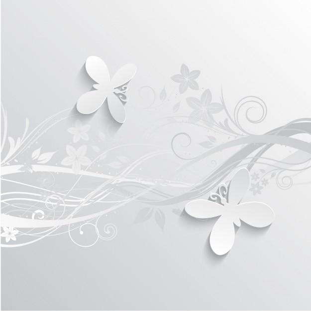 Flores e borboletas fundo cinzento Vetor grátis