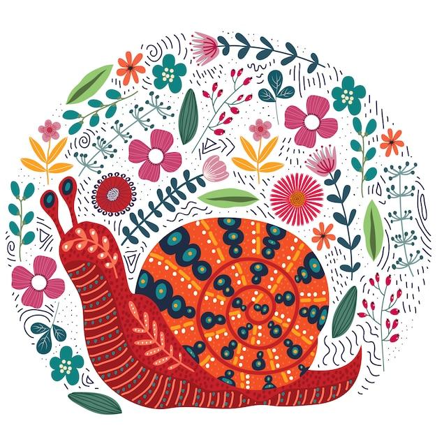 Flores e caracol folclórica de mão desenhada Vetor Premium
