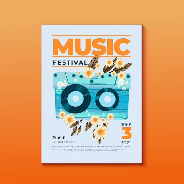 Flores e fita cassete de cartaz de festival de música Vetor grátis
