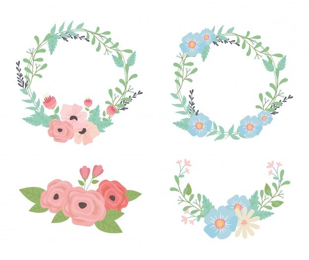 Flores e folhas de grinaldas e coroas decorações Vetor Premium