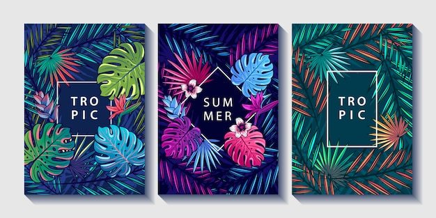 Flores e folhas tropicais desenha conjunto de cartazes. Vetor Premium