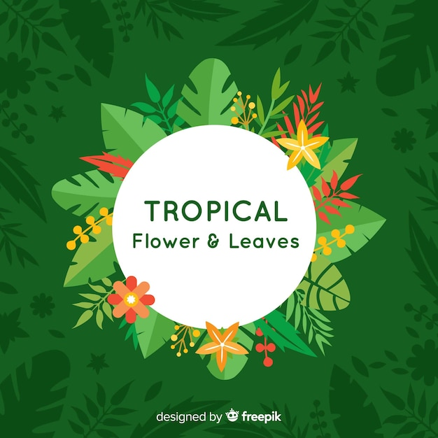 Flores e folhas tropicais planas Vetor grátis