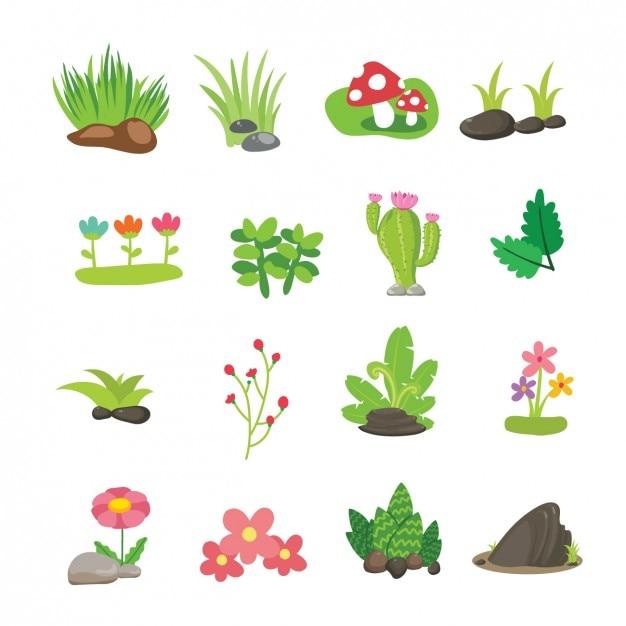 Flores e ramos coleção Vetor grátis