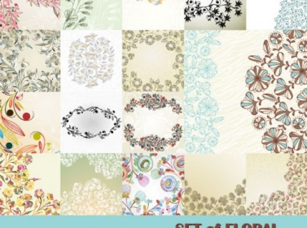Flores em abstrato padrões de fundo Vetor grátis