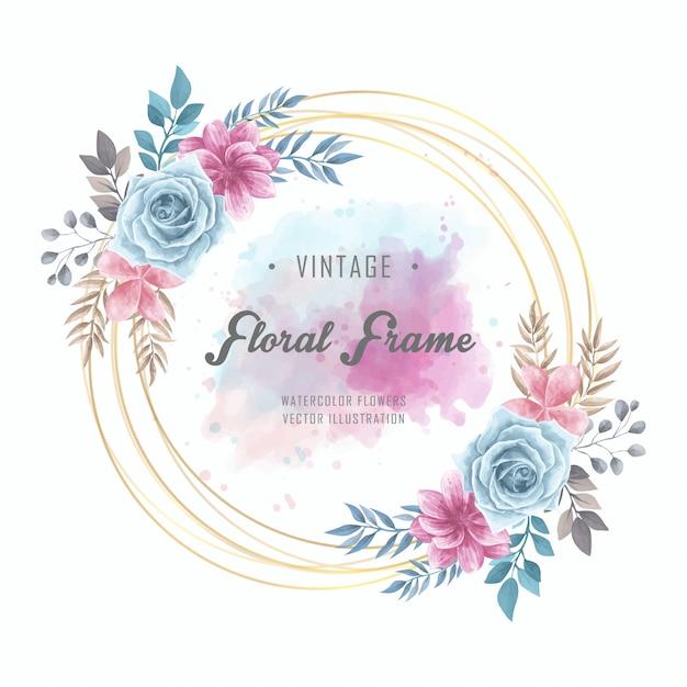 Flores em aquarela floral circle frame vintage dourado Vetor Premium
