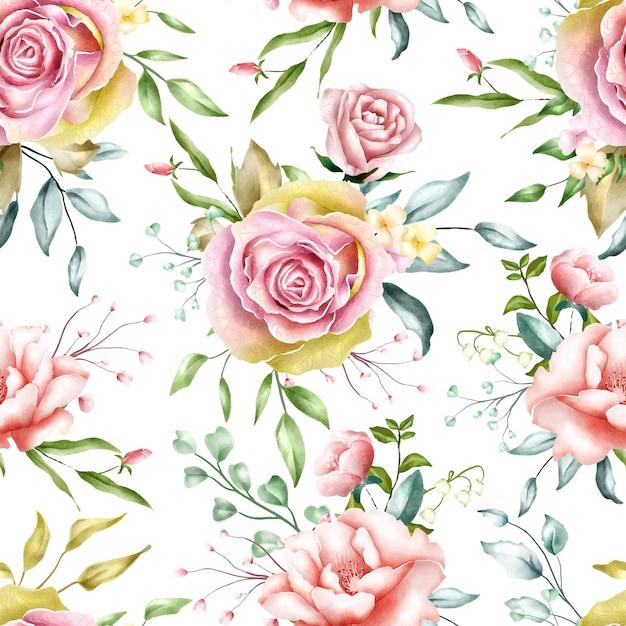 Flores em aquarela padrão sem emenda Vetor Premium