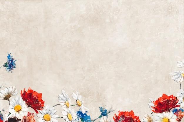 Flores em uma tela pastel Vetor grátis
