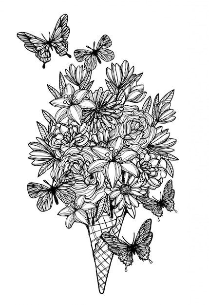 Flores em waffle cone sorvete mão desenho preto e branco Vetor Premium