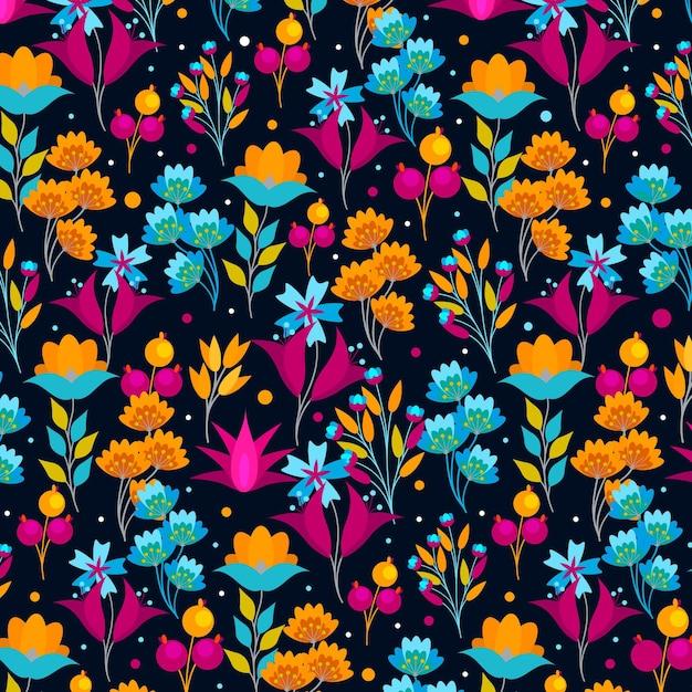Flores exóticas pintadas e padrão de folhas Vetor grátis