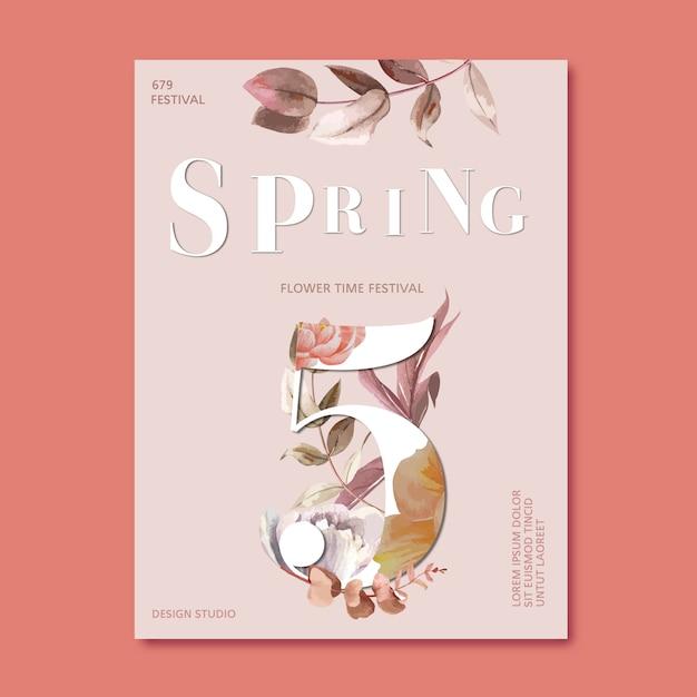 Flores frescas de cartaz de primavera Vetor grátis