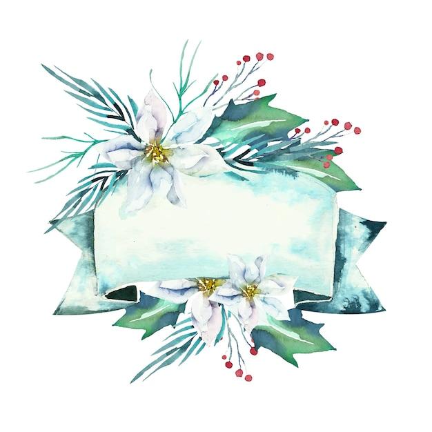 Flores lindas de inverno com banner vazio Vetor grátis