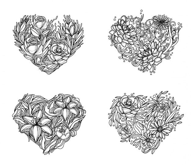 Flores mão desenho e desenho preto e branco Vetor Premium