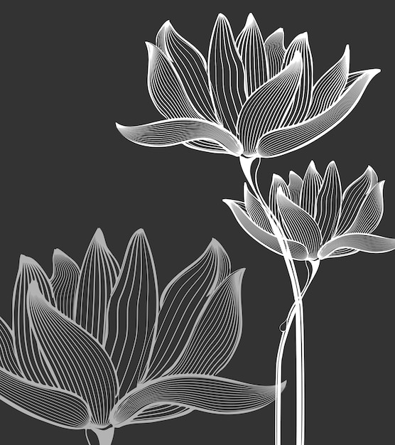 Flores monocromáticas Vetor grátis