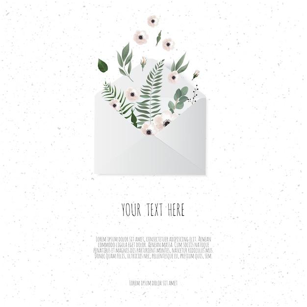 Flores no envelope no fundo branco. Vetor Premium