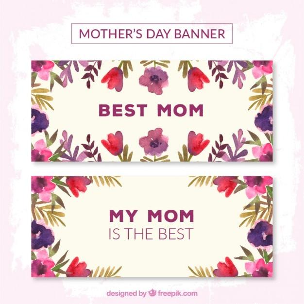 Flores roxas bandeiras do dia das mães Vetor grátis