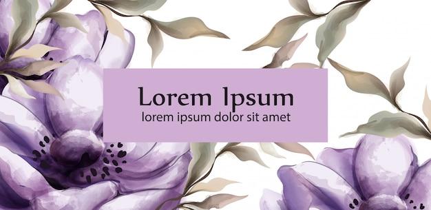 Flores roxas fundo aquarela Vetor Premium