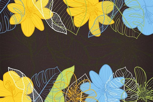 Flores sobre fundo de quadro-negro Vetor grátis