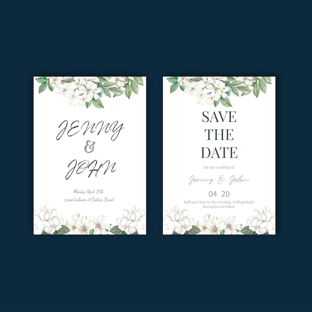 Flores tailandesas design de cartão de casamento Vetor grátis
