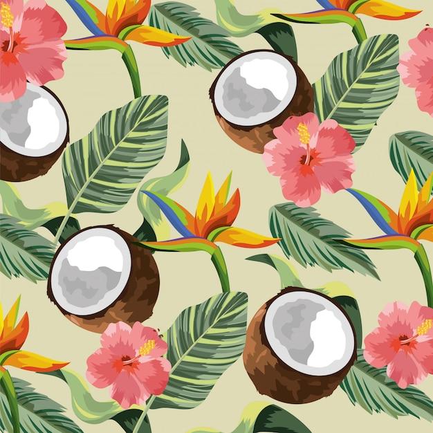 Flores tropicais com coco e folhas de fundo Vetor Premium