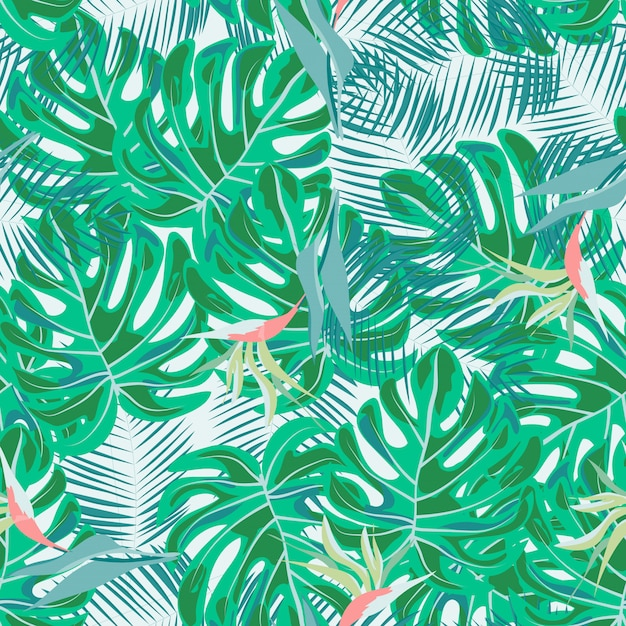 Flores tropicais e folhas de plantas selva vetor sem costura padrão. impressão floral exótica para fatos de banho, tecidos, papéis de parede Vetor Premium