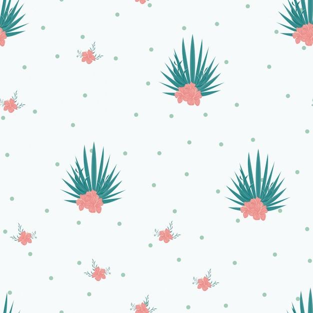 Flores tropicais e folhas de plantas selva vetor sem costura padrão Vetor Premium